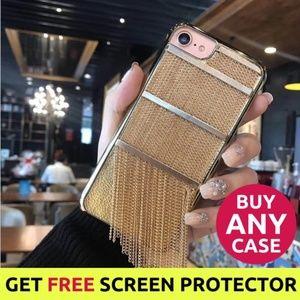 NEW iPhone X/XS/7/8/Plus Gold Fringe Case